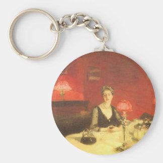 A Dinner Table at Night by Sargent, Victorian Art Basic Round Button Keychain