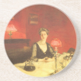 A Dinner Table at Night by Sargent, Victorian Art Drink Coaster
