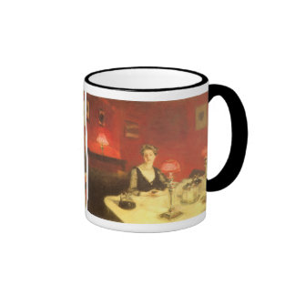 A Dinner Table at Night by Sargent, Victorian Art Ringer Coffee Mug