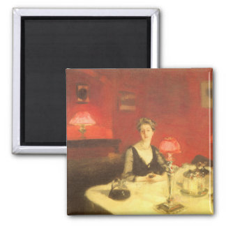 A Dinner Table at Night by Sargent, Victorian Art Square Magnet