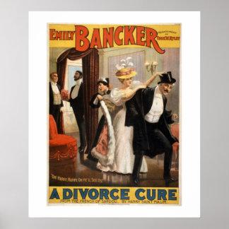 A Divorce Cure Vintage Theatre Poster. Poster
