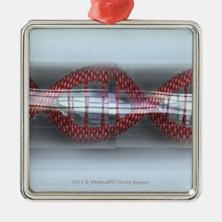A DNA strand in a capsule Silver-Colored Square Ornament