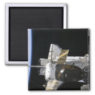 A docked Soyuz spacecraft Square Magnet