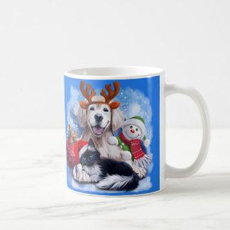 A dog, a cat and a snowman coffee mug