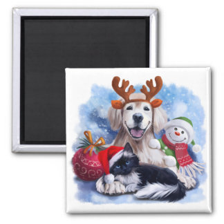 A dog, a cat and a snowman magnet