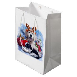 A dog, a cat and a snowman medium gift bag