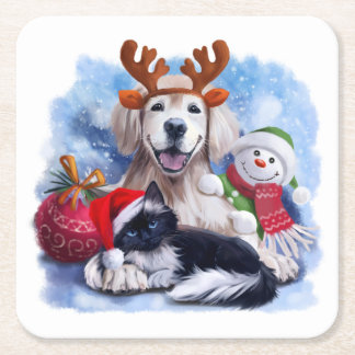 A dog, a cat and a snowman square paper coaster
