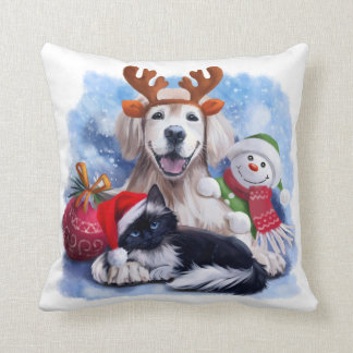 A dog, a cat and a snowman throw pillow