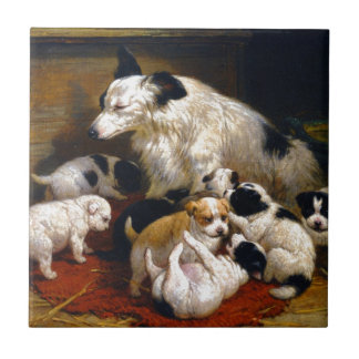 A dog and her puppies ceramic tile