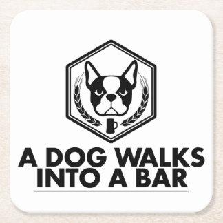 A Dog Walks Into a Bar - Black and White Coaster
