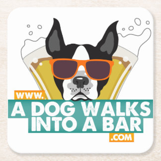 A Dog Walks into a Bar - Color Square Coasters