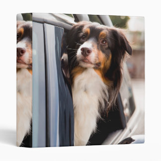 A Dog With Her Head Out of a Car Window Vinyl Binder