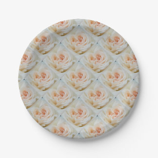 A Double Hearted Romantic White Rose Paper Plate