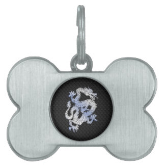A Dragon expression on Black Snake Skin Print Pet ID Tag