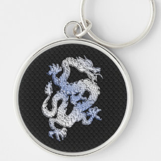 A Dragon expression on Black Snake Skin Print Silver-Colored Round Keychain