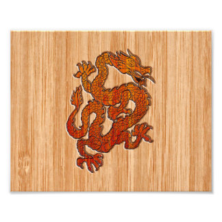 A Dragon on Bamboo Photo Print