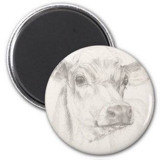 A drawing of a young cow 2 inch round magnet