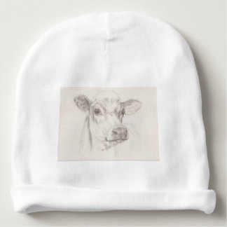 A drawing of a young cow baby beanie