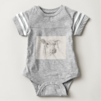 A drawing of a young cow baby bodysuit