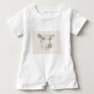 A drawing of a young cow baby romper