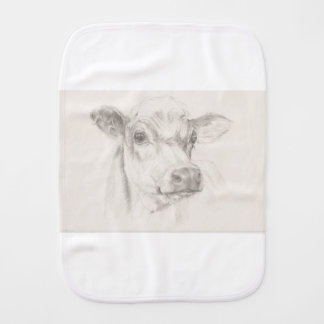 A drawing of a young cow burp cloth