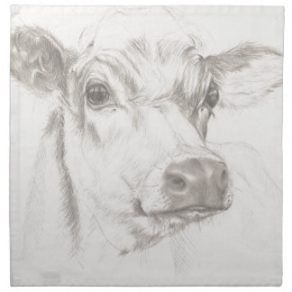 A drawing of a young cow napkin