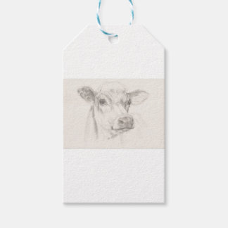 A drawing of a young cow pack of gift tags