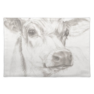 A drawing of a young cow placemat