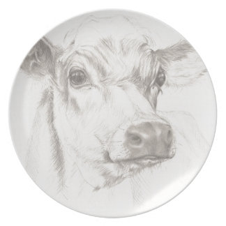 A drawing of a young cow plate