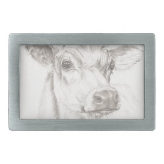 A drawing of a young cow rectangular belt buckles