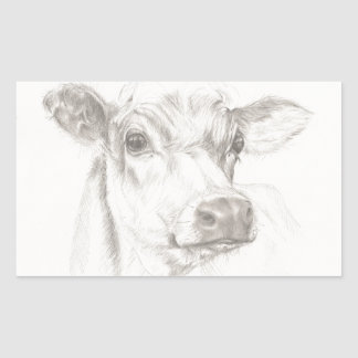 A drawing of a young cow sticker