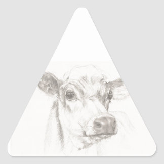 A drawing of a young cow triangle sticker