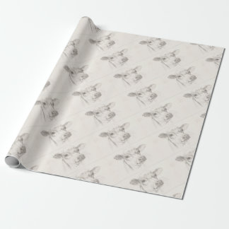 A drawing of a young cow wrapping paper