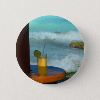 A Drink At The Beach 2 Inch Round Button