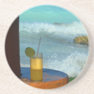 A Drink At The Beach Coaster