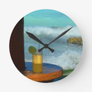 A Drink At The Beach Round Clock