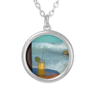A Drink At The Beach Silver Plated Necklace