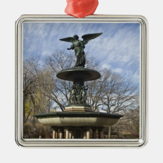 A dry winter Bethesda Fountain in Central Park Metal Ornament