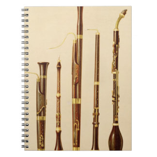 A dulcian, an oboe, a bassoon, an oboe da caccia a notebook