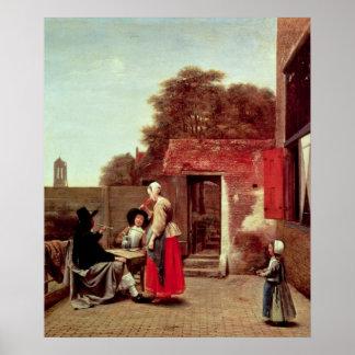 A Dutch Courtyard, c.1658-60 Poster