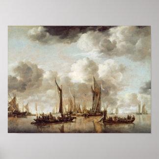 A Dutch Yacht Firing a Salute Poster