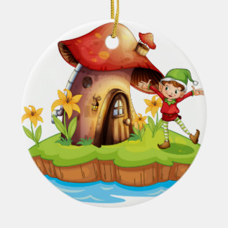 A dwarf outside a mushroom house ceramic ornament