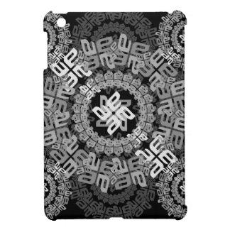 a-e letter-circle-pattern-black-white iPad mini cases