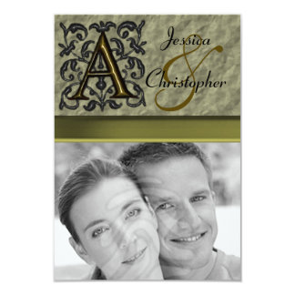 "A- Embossed Vintage Monogram (Gold) 3.5"" X 5"" Invitation Card"