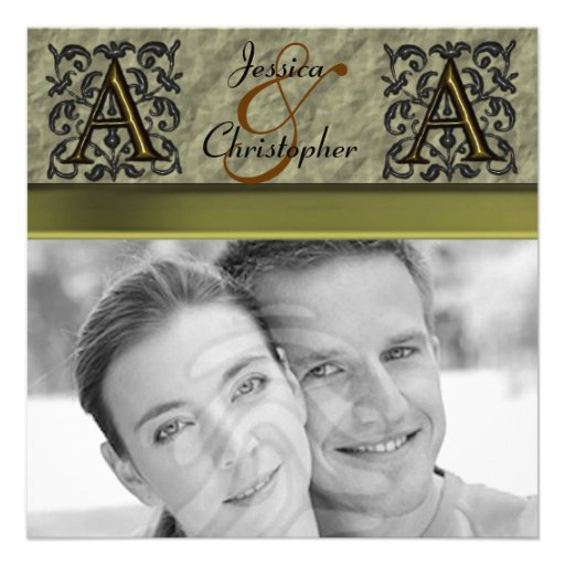 A- Embossed Vintage Monogram (Gold) Personalized Invitations