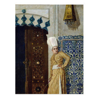 A eunuch before the door of the harem postcard