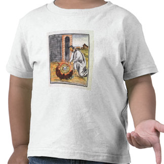 A European engaged in making a reliquary Tshirt