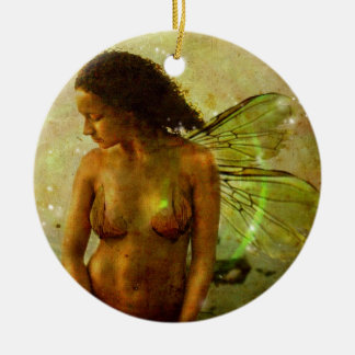 A Faeries Heart Round Ceramic Ornament