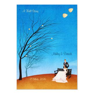 "A Fall (in love) Story Wedding Invitation 5"" X 7"" Invitation Card"