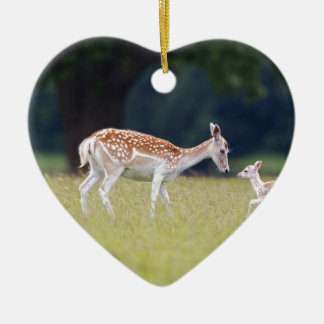 A Fallow Deer (Doe) with Fawn Ceramic Ornament